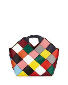 Loewe Small Woven Leather Tote Bag, Multi
