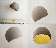 craft, design, diy, hanging lamp, hanging light, industrial lamp, industrial light, lamp, light, pandant lamp, paper mache, paper pulp lamp, pendant light, recycled Lamp made from the paper pulp obtained from old newspapers.