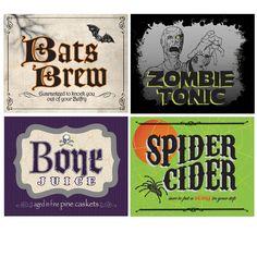 Shocktails Drink Bottle Labels.  Name your poison!  Shocktails 2l Bottle Labels consist of 4 different stick-on labels:  Bats Brew, Spider Cider, Bone Juice, and Zombie Tonic.  Set of 4