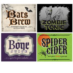 Shocktails Drink Bottle Labels.  Name your poison!  Shocktails 2l Bottle Labels consist of 4 different stick-on labels:  Bats Brew, Spider Cider, Bone Juice, and Zombie Tonic.  Set of 4