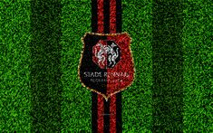 Download wallpapers Stade Rennais FC, 4k, football lawn, logo, French football club, grass texture, emblem, red black lines, Ligue 1, Rennes, France, football, Rennes FC
