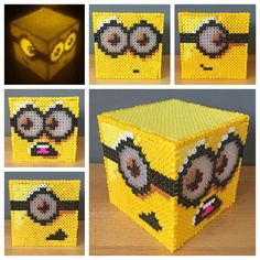Minion light night perler beads by craftykelly21