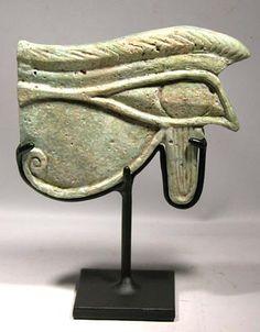 "Custom Display for a very large Egyptian faience ""Eye of Horus""."