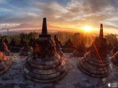 Java Island, Indonesia ~ Borobudur, or Barabudur, is a 9th-century Mahayana Buddhist Temple in Magelang, Central Java, Indonesia