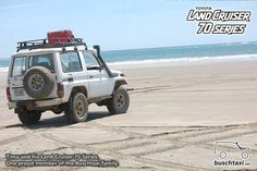 Timo and his Land Cruiser 70 Series at a beach in Costa Rica. One proud member of the Buschtaxi Family.  #buschtaxi #landcruiser #70series #toyota