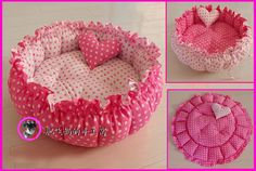 suitcase dog bed pink | Details about Handmade Pet Dog Cat Pet Bed with Ruffles 100% PP ...