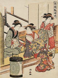 """""""At the Entrance of the Tsuruya"""". Woodblock print. 1781, Japan, by artist Torii Kiyonaga"""
