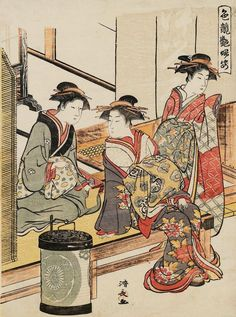 """At the Entrance of the Tsuruya"". Woodblock print. 1781, Japan, by artist Torii Kiyonaga"