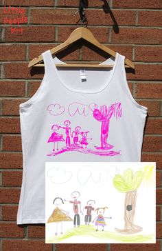Personalized ladies cotton tank top with your child drawing personalized gift custom handmade Family Drawing, Drawing For Kids, Family Picture Outfits, Sweet Pic, White Picture, Child Life, People Art, Ink Color, Little People