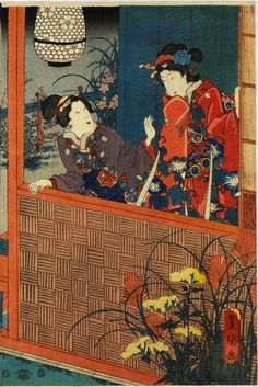 Colour woodblock triptych print entitled Monaka no tsuki-iro no kusabana (Flowers and Grasses by Moonlight), depicting Prince Genji with ladies and a page in a garden by moonlight: Japan, by Utagawa Kunisada, 1849 - 1852