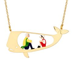 N2 - Pinocchio and Gepetto in the whale necklace Love Persimmon