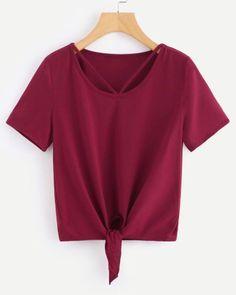 V Strap Neck Knot T-shirt Burgundy - www.anabellas.co #anabellas #camiseta #cuelloredondo #mangacorta #correadecuello #casual