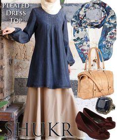 Shop the Look at SHUKR! Denim Tencel Pleated Dress Top