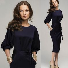 Butterfly Belt spring autumn dress 3/4 Sleeve office business Sheath Dress Plus Size Women to work Vintage Pinup Pencil Dress