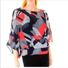 Alfani Red black and white patterned top New with tags. Sizes small petite and Large petite Alfani Tops Blouses