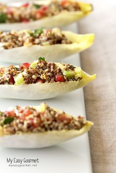 My Easy Gourmet - Quinoa Endive Boats plus additional endive recipes Healthy Snacks, Healthy Eating, Healthy Recipes, Clean Eating, Advocare Recipes, Healthy Life, Vegetarian Recipes, I Love Food, Good Food