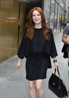 Julianne Moore ~ Always out and about in NYC ~ Usually in a dress! Makeup or sand the makeup, she is awesome ~~