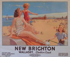 Canvas Print-& Brighton - Wallasey, Cheshire Coast& BR (LMR) poster, inch Box Canvas Print made in the UK Posters Uk, Railway Posters, Beach Posters, Retro Posters, British Travel, British Seaside, British Isles, Brighton Rock, National Railway Museum