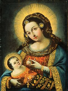 18th century painting of Mary succling Jesus, by an anonymous artist from Ecuador