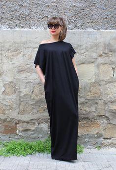 Black Maxi Dress, Cotton Knit Caftan Dress, Plus Size Dress, Beach Dress, Plus Size Clothing, Sizes S through 4X