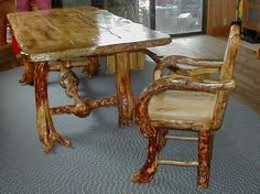 Ideas for kitchen table and chairs, rough cut and stained