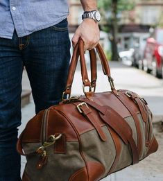 Charlie Waxed Canvas & Leather Duffel Bag by 11 Industries on Scoutmob Cuir Vintage, Leather Duffle Bag, Canvas Leather, Waxed Canvas, Leather Accessories, Fashion Accessories, Mode Style, Backpack Bags, Duffel Bags