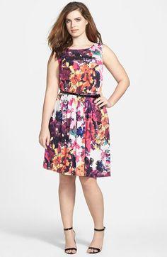 Jessica Simpson Floral Fit & Flare Dress (Plus Size)   Nordstrom