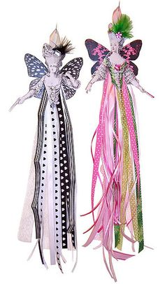 DIY Ribbon Dolls (great use for leftover odd pieces of ribbon).ooooh I have several of the head/arm sets.now a purpose for them! Ribbon Art, Diy Ribbon, Ribbon Crafts, Paper Crafts, Paper Ribbon, Christmas Angels, Christmas Crafts, Christmas Ribbon, Fairy Dolls