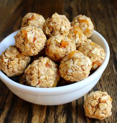 No bake honey rice Krispy peanut butter balls:   1/2c peanut butter, 1/4 c honey, 1/4 tsp vanilla, 3 c Rice Krispies....or make this version..so many possibilities with oatmeal, dried fruit, coconut, choc chips etc!