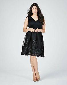 4ef1c49ad4447 Lovedrobe Sports Mesh Embroidery Detail Skater Dress Blk Size UK 26 DH087  UU 02  fashion · Sequin DressPlus ...