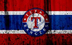 Download wallpapers 4k, Texas Rangers, grunge, baseball club, MLB, America, USA, Major League Baseball, stone texture, baseball