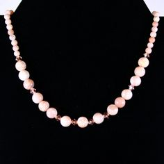 Sunstone Peach & Cream Beaded Gemstone Necklace with Swarovski Faceted Crystals & 14K Gold Plated EZ Toggle Clasp