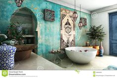 morrocon photography | Interior design rendering of moroccan bathroom.