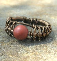wire wrapped red beaded bangle bracelet