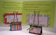 Binder Clip Note Holders. Great to hold a small message.  by Browneyedbby - Cards and Paper Crafts at Splitcoaststampers