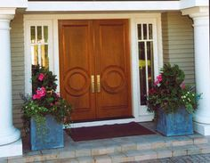 Double entry doors by Pinecrest. Home built by Martin Bros. Contracting.