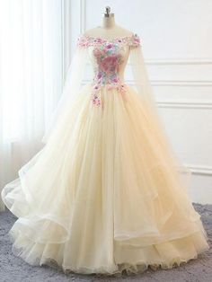 Custom Women Champagne Prom Dress Ball Gown Long Quinceanera Dress Floral Flowers Masquerade Prom Dress Wedding Bride Gown Illusion - Quinceanera Dresses - Ideas of Quinceanera Dresses Quince Dresses, Ball Dresses, 15 Dresses, Fashion Dresses, Dresses Online, Spring Dresses, Winter Dresses, Fashion 2018, Sexy Dresses