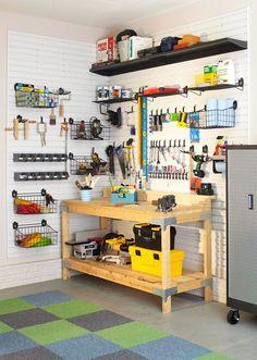 Garage Garage, ideas, man cave, workshop, organization, organize, home, house, indoor, storage, woodwork, design, tool, mechanic, auto, shelving, car.
