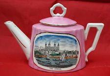 Antique Victorian Pink Lustre Teapot Transfer Printed with London Thames Scene