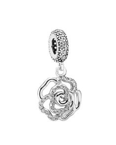 Pandora Dangle Charm - Sterling Silver & Cubic Zirconia Shimmering Rose, Moments Collection