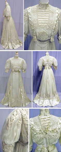 Tea gown, circa 1900s. Appliquéd lace and chiffon. Via svpmeow1 on eBay.