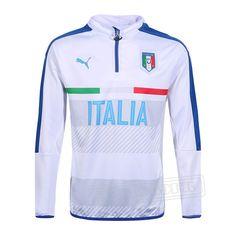 Promo:Le Meilleur Du Nouveau Training Zip Sweatshirt Italie Blanc/Bleu 2016 2017 Slim Personnalise