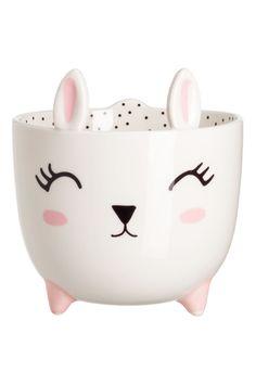 Small Stoneware Plant Pot | White/rabbit | H&M HOME | H&M US