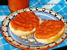 Ingrediente : – 4 kg ardei capia – 4 linguri cu mustar dulce – 300 ml ulei – 3 linguri cu miere de albine – sare si piper dupa gust Mod de preparare : Ardeii se coc (grija mare sa nu-i carbonizati) si se pun intr-un vas. Deasupra se presara … Pasta, Caviar, Pancakes, Fish, Breakfast, Canning, Morning Coffee, Noodles, Pancake