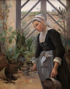 Breton Girl Looking After Plants in Hothouse, 1884, by Anna Petersen
