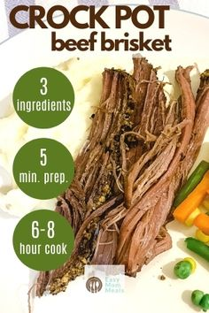 You'll love this Crock Pot brisket recipe. Using just 3 ingredients, including liquid smoke, you'll have a delicious faux smoked flat brisket ready for dinner by the time you get home. This beef recipe in the slow cooker is about as easy as it gets! Beef Brisket Recipes Crockpot, Beef Brisket Slow Cooker, Smoked Beef Brisket, Crock Pot Slow Cooker, Crock Pot Cooking, Crockpot Recipes, Crock Pot Brisket, Crockpot Dishes, Pork Recipes