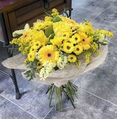all yellow bouquet Evergreen Flowers, Yellow Bouquets, Flower Boutique, Plants, Plant, Planets
