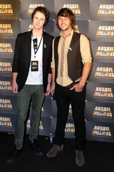 Nick Bolton and Tim Wheatley attend the Aussie Millions Celebrity Poker Challenge for charity at the Crown Casino on January 19, 2011 in Melbourne, Australia.