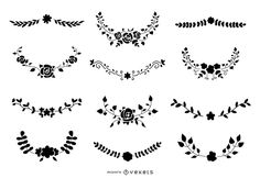 Silhouette set featuring various floral ornaments with flowers and leaves. Use it for personal or Commercial purposes like business cards, posters, videos, flye Powerpoint Free, Creative Powerpoint, Mo Design, Layout Design, Silhouette Vector, Layout Template, Create A Logo, Printed Materials, Your Cards