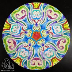 Radial Mandala Design Project | 2012 | 12x12in | Colored pencil on drawing paper | High School Art Lesson Plan | Art Project (This is an example I created for a project I assigned to my 9th grade art students)
